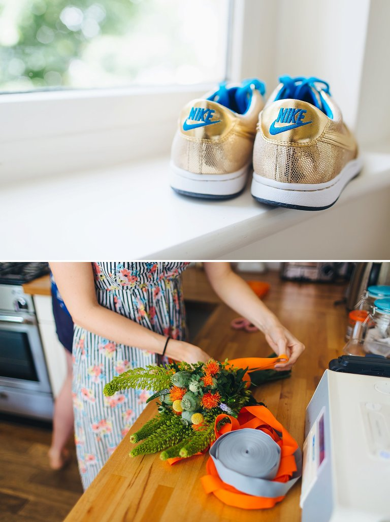 Alternative wedding shoes gold trainers