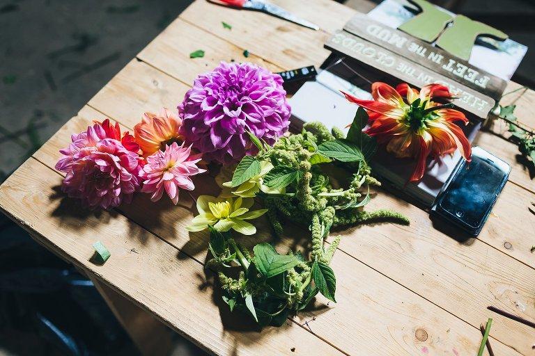 DIY wedding flowers woodland