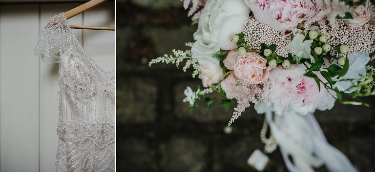Jenny Packham Wedding Dress and Bouquet