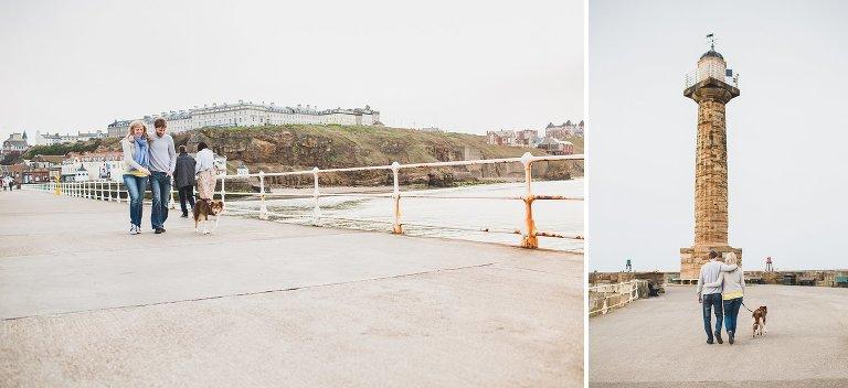 Couple walking along pier at Whitby natural pre-wedding shoot