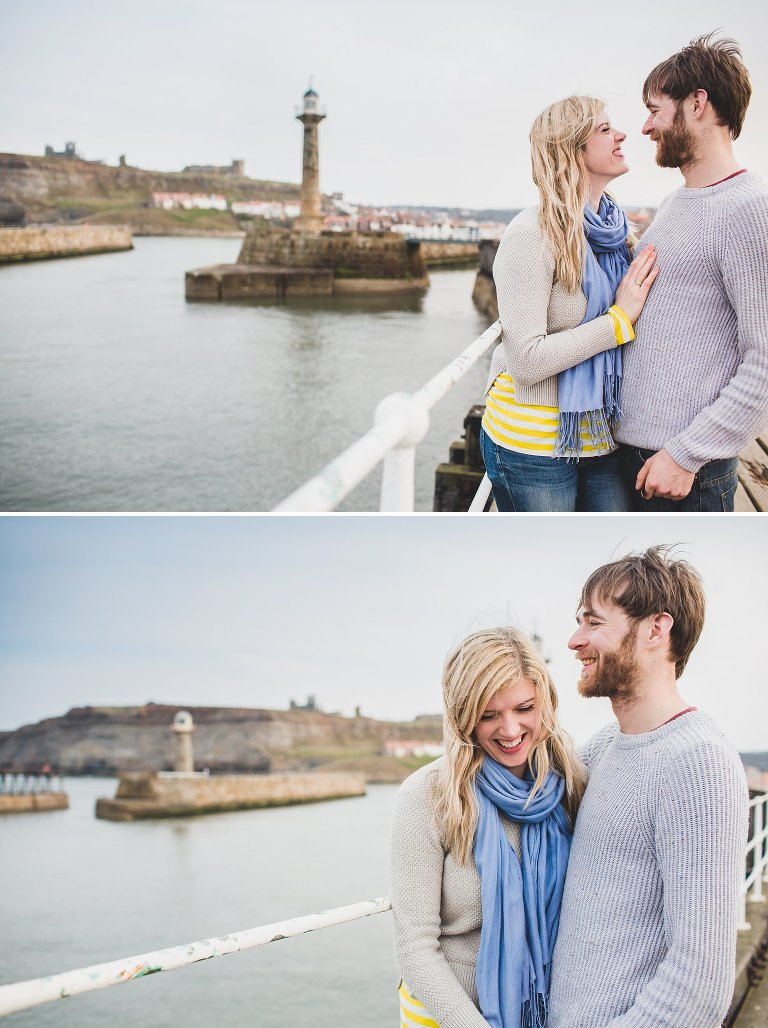 Couple naturally laughing pre-wedding shoot Whitby