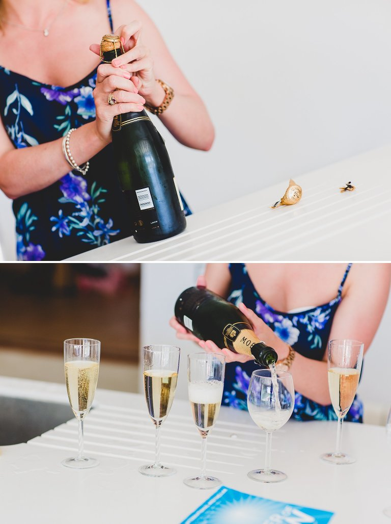 Champagne celebrations for wedding in Ibiza