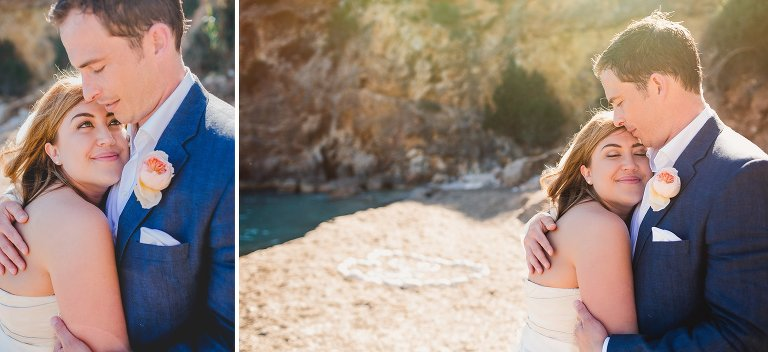 Natural portrait of bride and groom in the sun on Amante Beach