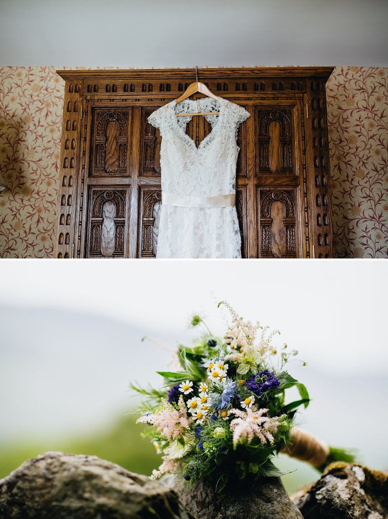 Wedding dress hung on old wooden wardrobe