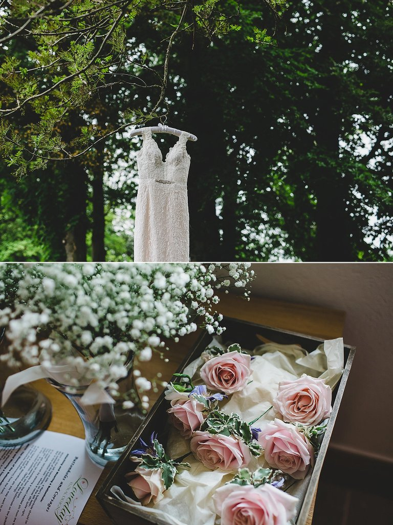 Wedding dress hung from tree